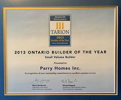 Tarion Award of Excellence Ontario Home Builder of The Year 2013
